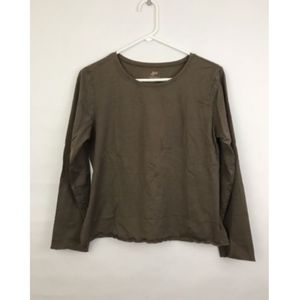 J. Jill Pima Cotton Long Sleeve Fitted Tee Brown L